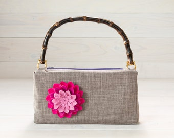Grey Fabric Purse with Pink Felt Flower and Bamboo Handle