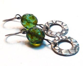 Textured fine silver drop earrings, dangle earrings, Czech glass bead, green, PMC, metal clay, boho, bohemian, minimal, zen, handmade