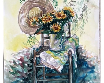 Original Watercolor Painting, Still life- Sunflower under tree shadow, 1610042