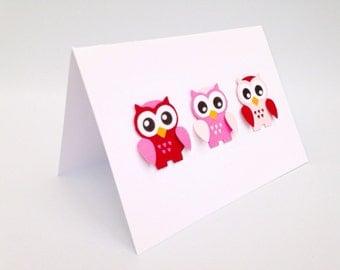 Owl card ~ Handmade greeting cards ~ Owl cards pink ~ Paper handmade greeting cards ~ Pink Owl ~ Greeting cards handmade