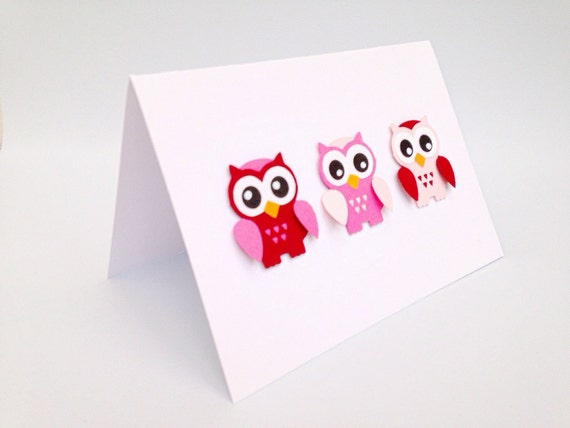 Owl card Handmade greeting cards Owl cards pink Paper