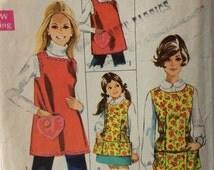 Simplicity 8563 vintage 1960's misses apron sewing pattern size medium  12-14