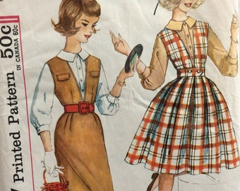 CLEARANCE!!  Simplicity 3655 girls blouse & jumper w/two skirts size 12 bust 31 or size 14 bust 33 vintage 1960's sewing pattern