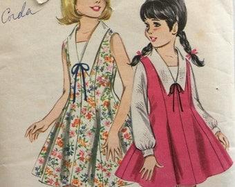 Butterick 3456 vintage 1960's girls dress or jumper & blouse sewing pattern size 8   Uncut