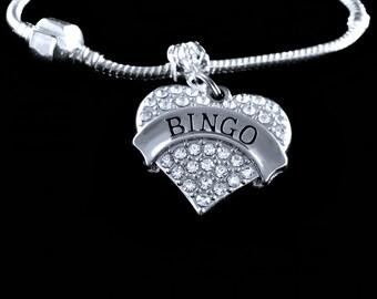Bingo Bracelet  Bingo player gift  Bingo Jewelry  Bingo Austrian Crystal Heart Charm Bracelet