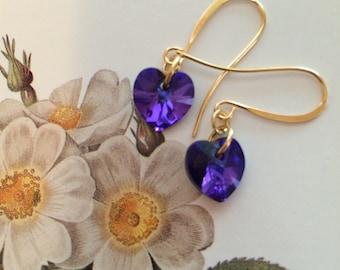 Heliotrope Swarovski heart crystal earrings II