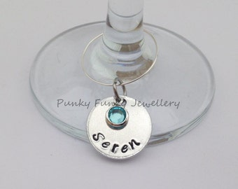 Personalised crystal wine glass charm - drinks marker - name charm - drink charm - customised glass marker - table decoration - wedding gift