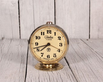 Vintage Soviet Alarm Clock Slava 11 Jewels, Working Mechanical Clock, Home Decor