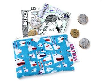 Cute coin purse, stocking filler, colourful print coin purse, colourful zip bag, zippered coin purse, kids wallet, kids coin purse