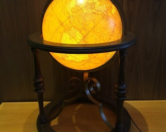 "16"" Vintage Mid Century Butler Illuminated Terrestrial Floor Globe Lighted"