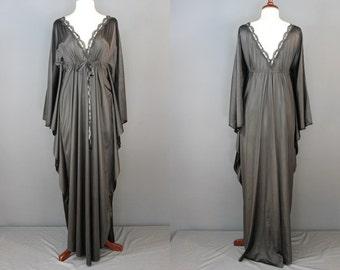 60's Caftan....60's Black Nylon Caftan-Style Nightgown