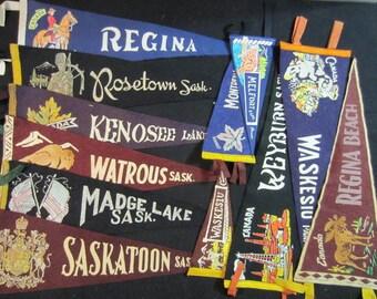 Vintage Felt Travel Pennants - Saskatchewan - Saskatoon, Weyburn, Regina, Watrous, Kenosee Lake, Madge Lake, Rosetown, Waskesiu, Meifort