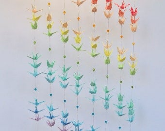 Gorgeous Original 120 Origami Crane Rainbow Hanging with beads, peace and mindfulness