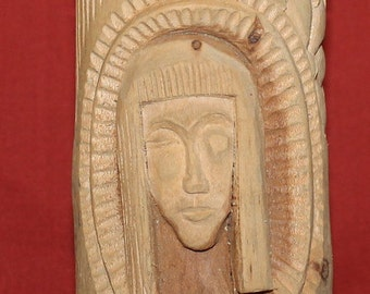 Antique Hand Carving Wood Woman Head Floral Statuette