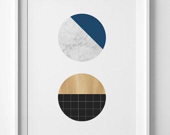 Digital print, affiche scandinave, navy poster, Scandinavian print, navy printable art, wall art printable, navy print, geometric wall print