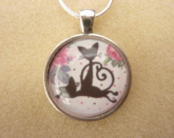 Cat Pendant   2.5 cm  ( 2inch) with 16 inch solid silver chain    Mothers Day Gift