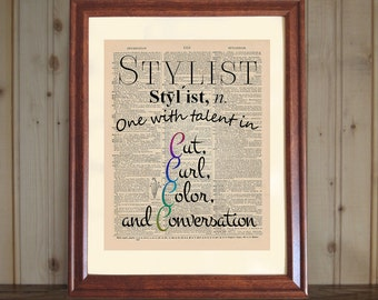 Stylist Dictionary Print, Hair Salon Decor, Hair Stylist Quote, Beautician Gift, Reproduced Old Dictionary Page on 5x7 or 8x10 Canvas Panel