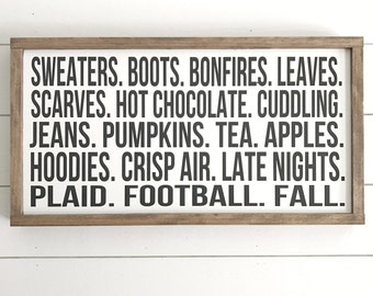 """Football fall words 13""""x24.5"""" wooden sign"""