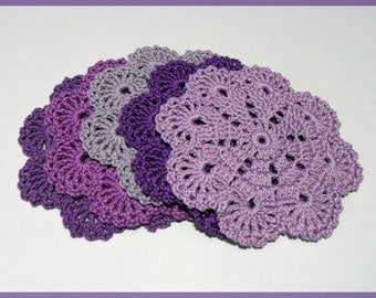 Set of 5 purple coasters