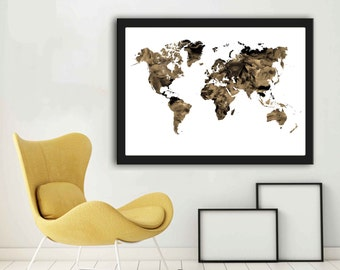 Large A2 World Map Modern World Map Wall Art Map Art Sepia Prints World Map Printable A2 World Map Poster A2 Map