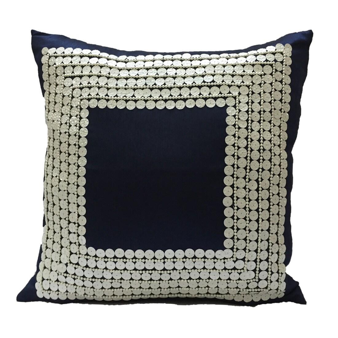 Decorative Throw Pillow Covers Dark Blue by TheWhitePetalsDecor