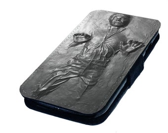 Han Solo Frozen In Carbonite Printed Faux Leather Flip Phone Case Cover Gift Idea Star Wars Inspired