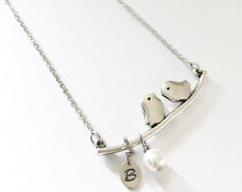 Birds on Branch Charm Necklace with Hand Stamped Initial Charm and Faux Pearl Charm