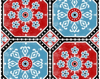 SALE!! Tile Decals - Tiles for Kitchen/Bathroom Back splash - Hand Painted Turkish Trefle Vinyl Tile Sticker Pack in Turquoise Red