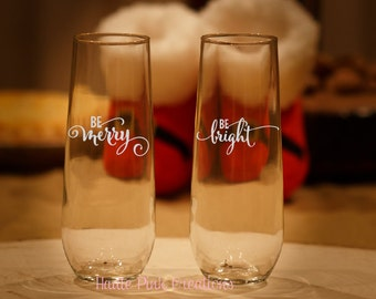 Christmas Glasses, Holiday Champagne Glasses, Christmas Champagne Glasses, Merry Christmas Glasses, Etched Wine Glasses, Set of 2