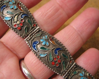 Magnificent Antique Russian Silver Enamel Bracelet 17.4 Grams.