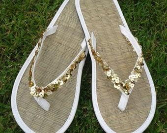Ladies Straw Wedding or Beach Flip Flops Sequin Sparkle