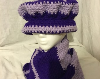 Purple and Orchid Hat and Scarf