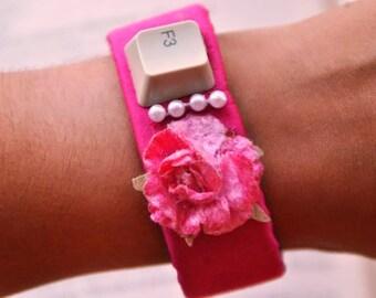 Textile shantung silk bracelet fucsia button keyboard beads flower and velcro fastening