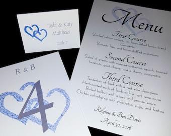 SAMPLE SET Complete Wedding Package - Programs, Table Numbers, Name Cards, Menus, Favors, Invitations