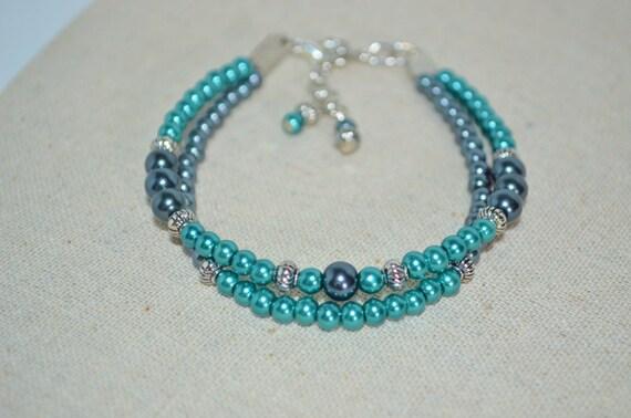 Ankle Bracelet Pearls, Teal & Black Pearl Anklet, Pearl Anklet, 2 Strands Black and Teal Pearl Anklet