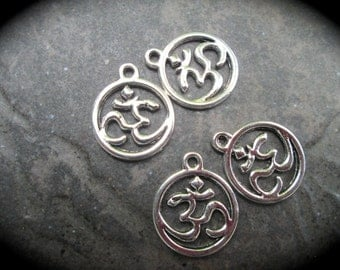 Om charms package of 4 charms perfect for adjustable bangle bracelets Beautiful Quality Yoga charms Cut Out Round Om charms