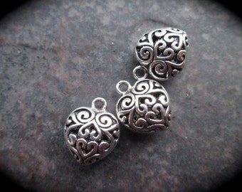 Silver Filigree Puffed Heart Charms Package of 3 Valentines Day charms or pendants