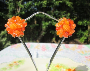 Orange Bead Cluster Vintage Clip Earrings