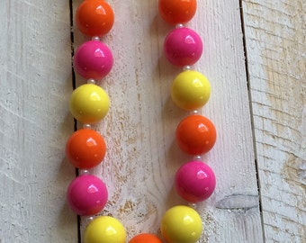 Bubblegum Necklace, Chunky Necklace, Girls Necklace, Toddler Necklace, Girls Birthday Gift, Girls Jewelry,  Toddler Jewelry