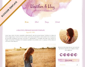 Blogger Template - Premade Blog Design - INSTANT DOWNLOAD - Heather and Hay Theme
