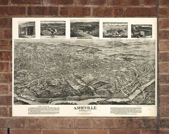 Vintage Asheville Print, Aerial Asheville Photo, Vintage Asheville NC Pic, Old Asheville Photo, Asheville North Carolina Poster, 1912
