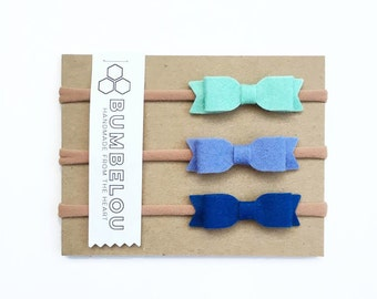 3 mini bow headbands - One Size Fits All Nylon - Mint, Periwinkle, Marine