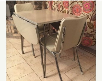 On Sale Vintage 1950s Chrome Birch Formica Drop leaf dinette Set table Chairs Complete
