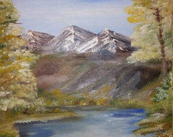 Fall in the mountains 16 X 20 hand painted acrylic canvas