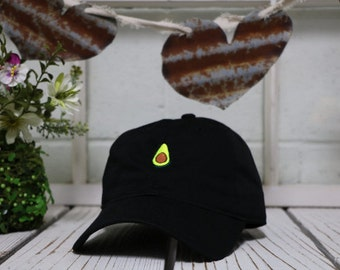 AVOCADO Black Embroidered Low Profile  Curve Bill Baseball Hat