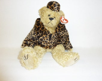 Vintage Ty Beanie Baby ISABELLA Large Ty Beanie Babies Bear Leopard Coat Hat Attic Treasures Collection Plush High Fashion Stuffed Animal