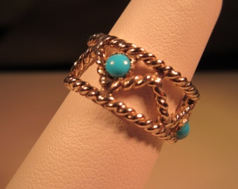 Retro Sterling Silver Turquoise Rope Ring - 6.5