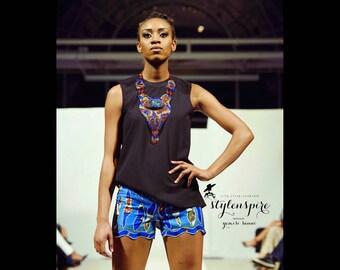 New Collection | Denim Lace Ankara Shorts | DENIM LORí SHORTS