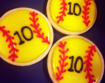 Softball Decorated Sugar Cookies (I can add names/numbers)
