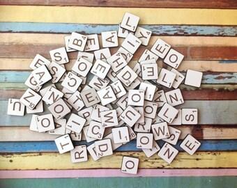 Alphabet letter tiles engraved laser cut scrabble